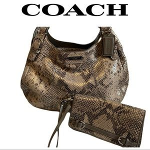 COACH Madison Maggie Python Embossed Hobo/Wallet